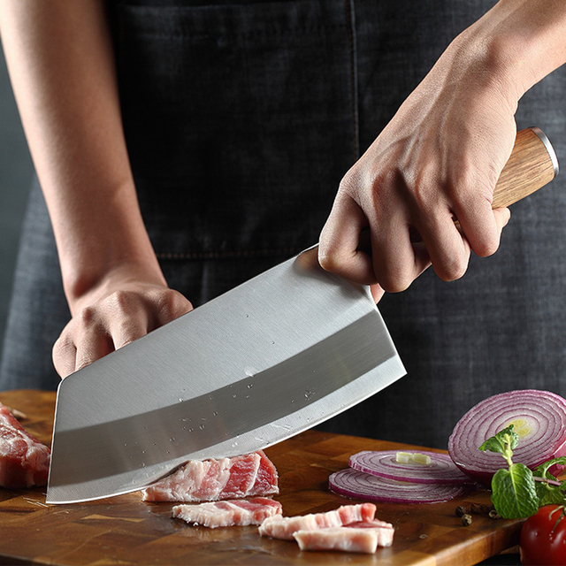 Chef Cleaver Knife Stainless Steel Wood Handle 5