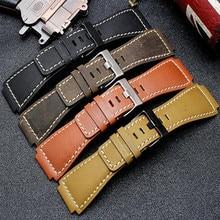 34*24mm Konvexen End Italienische Kalbsleder Leder Uhr Band Für Glocke Serie BR01 BR03 Armband armband Armband Gürtel ross Gummi Mann