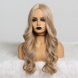 Image 2 - ALAN EATON Synthetic Wigs for Black Women Long Wavy Hair 22Inch Cosplay Light Ash Brown Blonde Wig Middle Part Heat Resistant