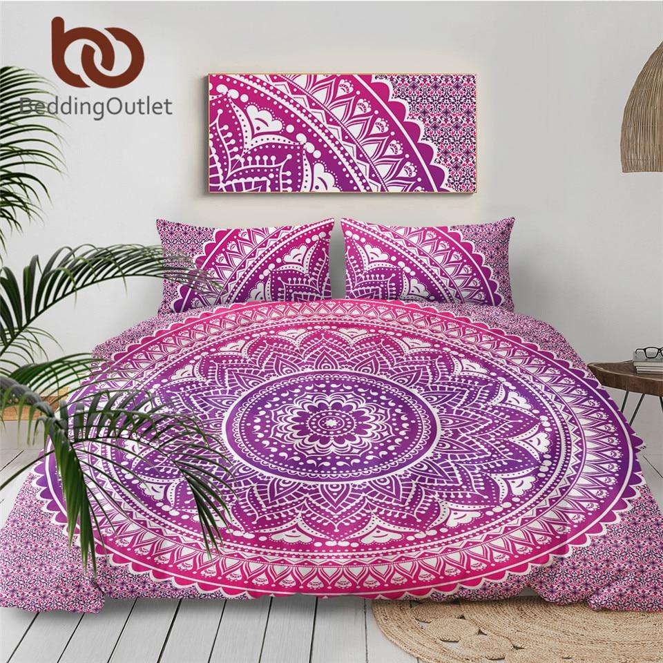 Bohemian Indian Mandala Bedding Pillowcases Pillow Covers Standard Queen