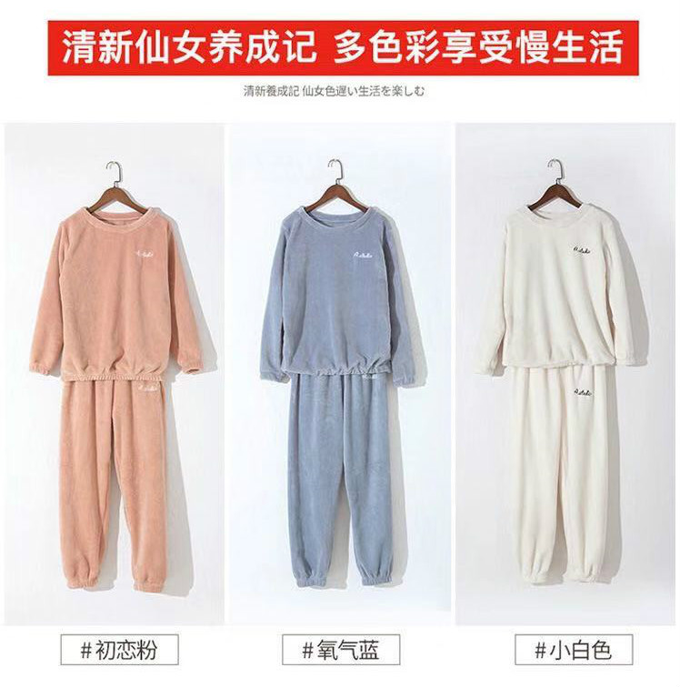 Autumn Winter Warm Flannel Women Pyjamas Sets Thick Coral Velvet Long Sleeve Sleepwearannel Paiamas Set for Gir 22