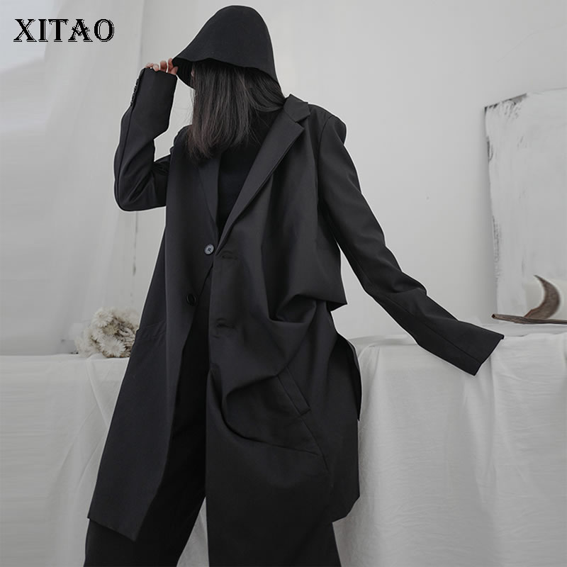 XITAO Irregular Pleated Black Trench Women Clothes 2020 Fashion Loose New Spring Turn Down Collar Single Breasted Coat  XJ3544