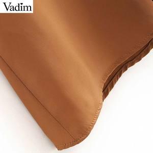 Image 5 - Vadim women chic spliced midi dress patchwork long sleeve O neck elegant female office wear mid calf dresses vestidos QC986