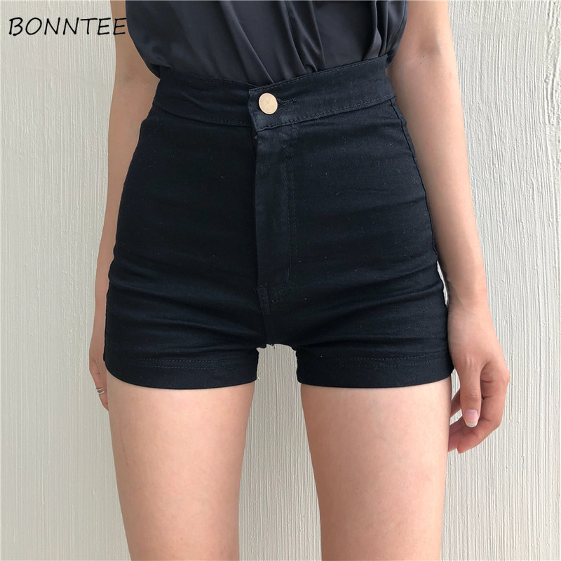 Shorts Women Black High Waist Skinny Elastic Korean Style Womens Hip Solid Comfortable Trendy Button Fly Zipper Daily 2020 New