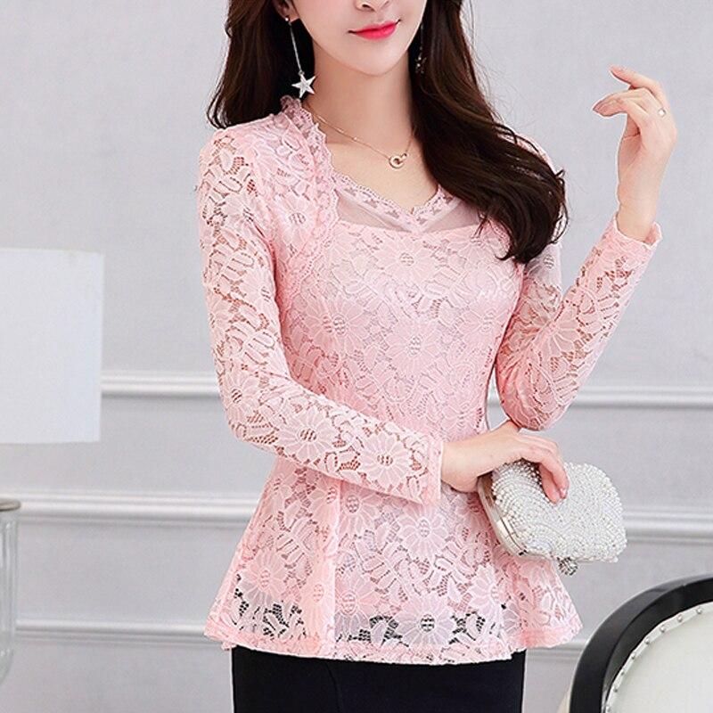 Plus Size Lace Women Clothing Pink 2020 Lace Shirt Tops Cutout Basic Female Elegant Long-sleeve Lace Blouse Shirt M-4XL 117F