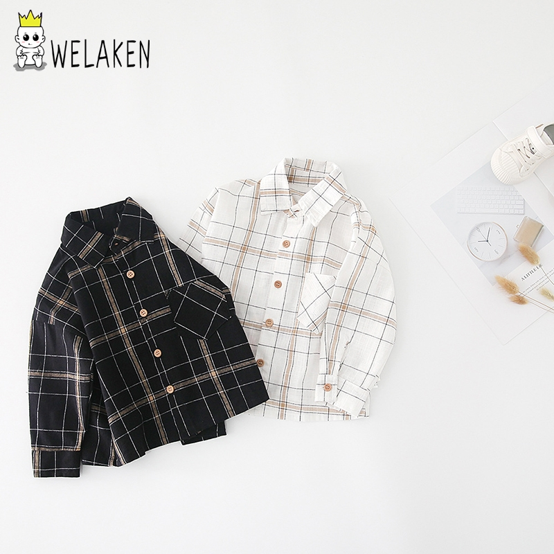 welaken vintage plaid shirt For toddler kids long sleeve Single-breasted shirt for babe boys cotton soft wear clothing 9M-5T