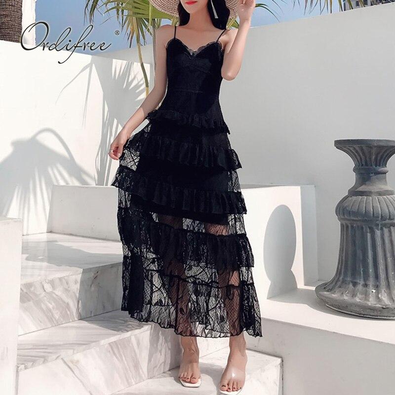 Ordifree 2019 été femmes longue Robe de soirée Spaghetti sangle noir dentelle Robe de plage Robe Femme