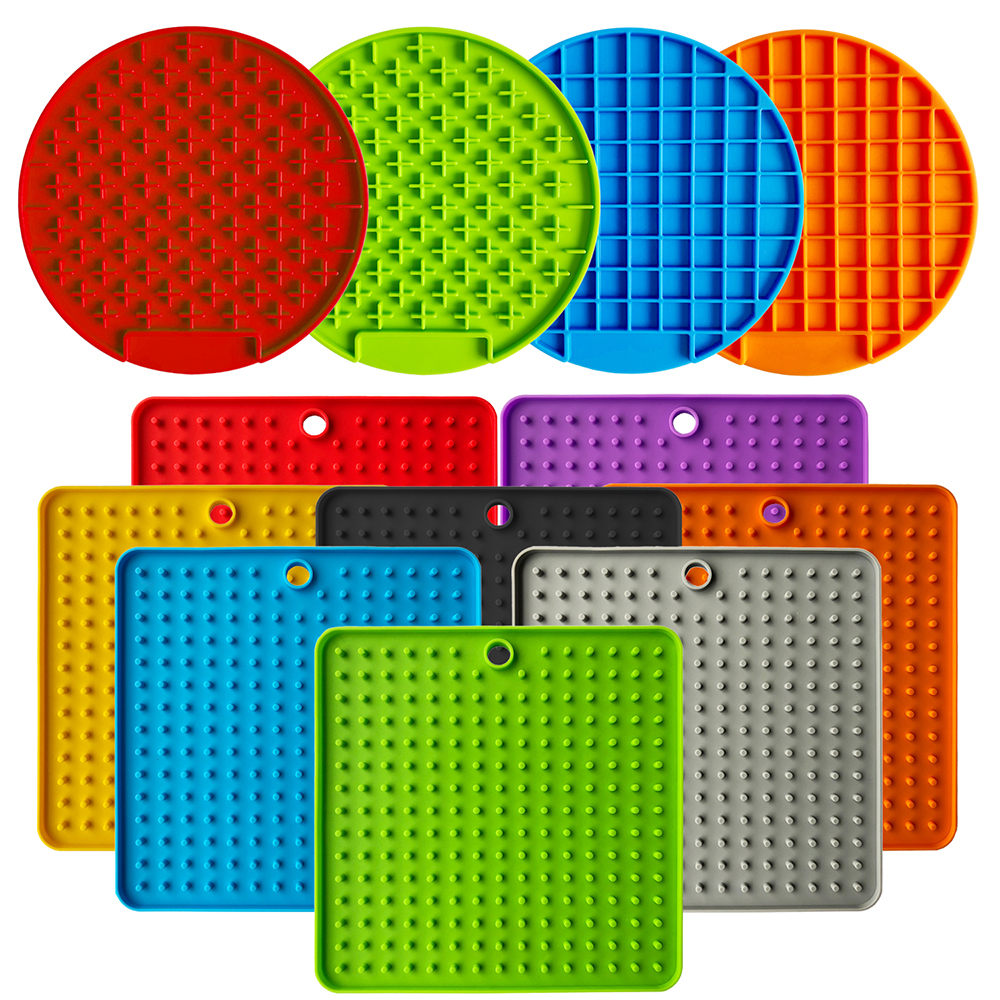 Mat For Dogs Cats Slow Food Bowls New Pet Dog Feeding Food Bowl Silicone Dog Feeding Lick Pad Dog Slow Feeders Treat Dispensing#