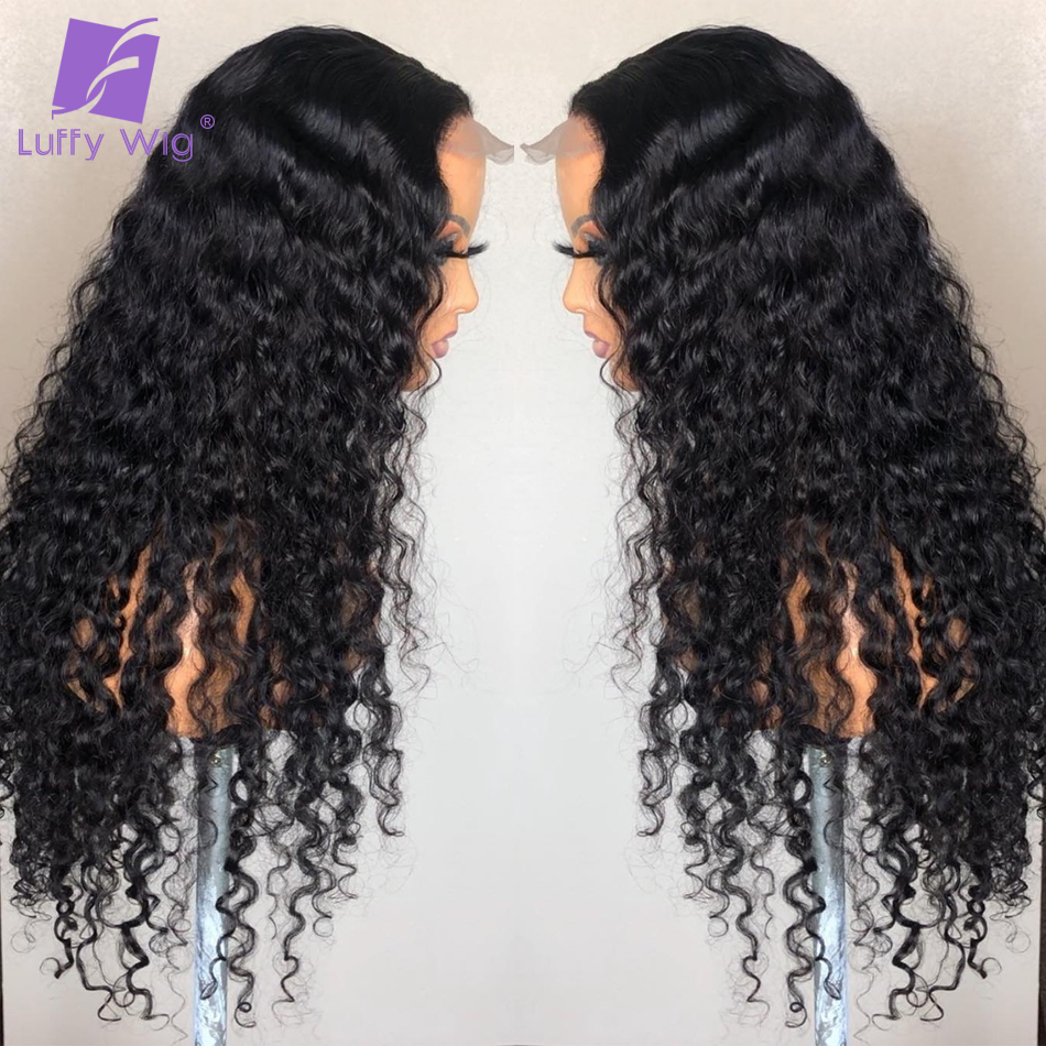 5x4.5 Silk Base Human Hair Wigs PrePlucked 13x6 Remy Malaysian Curly Lace Front Wig With Baby Hair Middle Deep Part 150% LUFFY