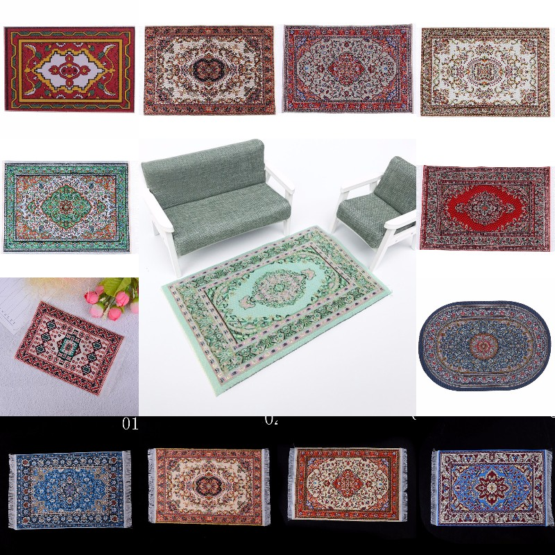 1:12 Miniature Woven Carpet Turkish Rug for Doll House Accessories P3G0 N0W5