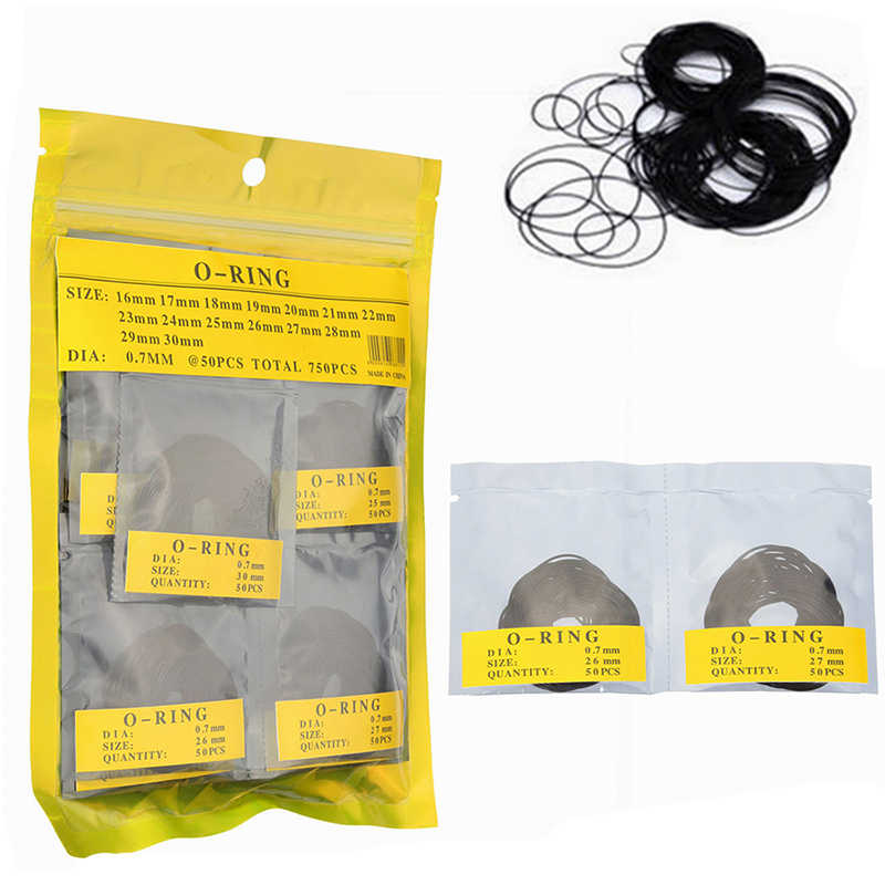 750 Pcs 0.7MM O Ring Watch Back Gasket Rubber Seal Washers Size 16 mm   30 mm|Bicycle Repair Tools| |  - title=