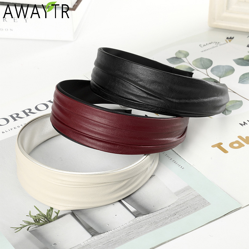 AWAYTR Fashion Simple  Leather Material Hair Band Solid Color Headband Pleated Women For Hair Accessories Wide Hair Hoop