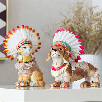 Simulation Animal Cute Puppy Statue Indian dogs & Indian cat Creative personality home modern simplicity Action Figure Toy