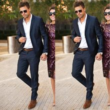 Marineblauw Wedding Suits Custom Made Beste Man Blazer Casual Slim Fit Bruidegom Bruidegom Wear Prom Kostuum 2 Stuk Mannen tuxedos(China)