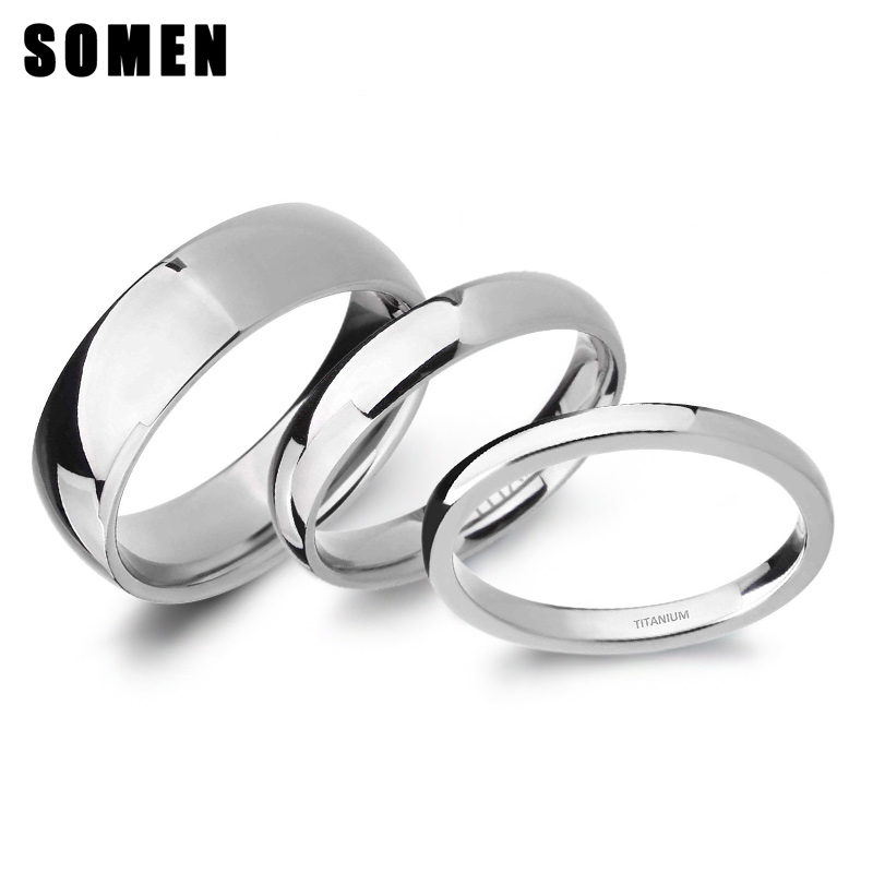 2mm/4mm/6mm Polished Silver Color Titanium Ring Women Smooth Wedding Band Minimalism Simple Stack Rings Female Fashion Jewelry