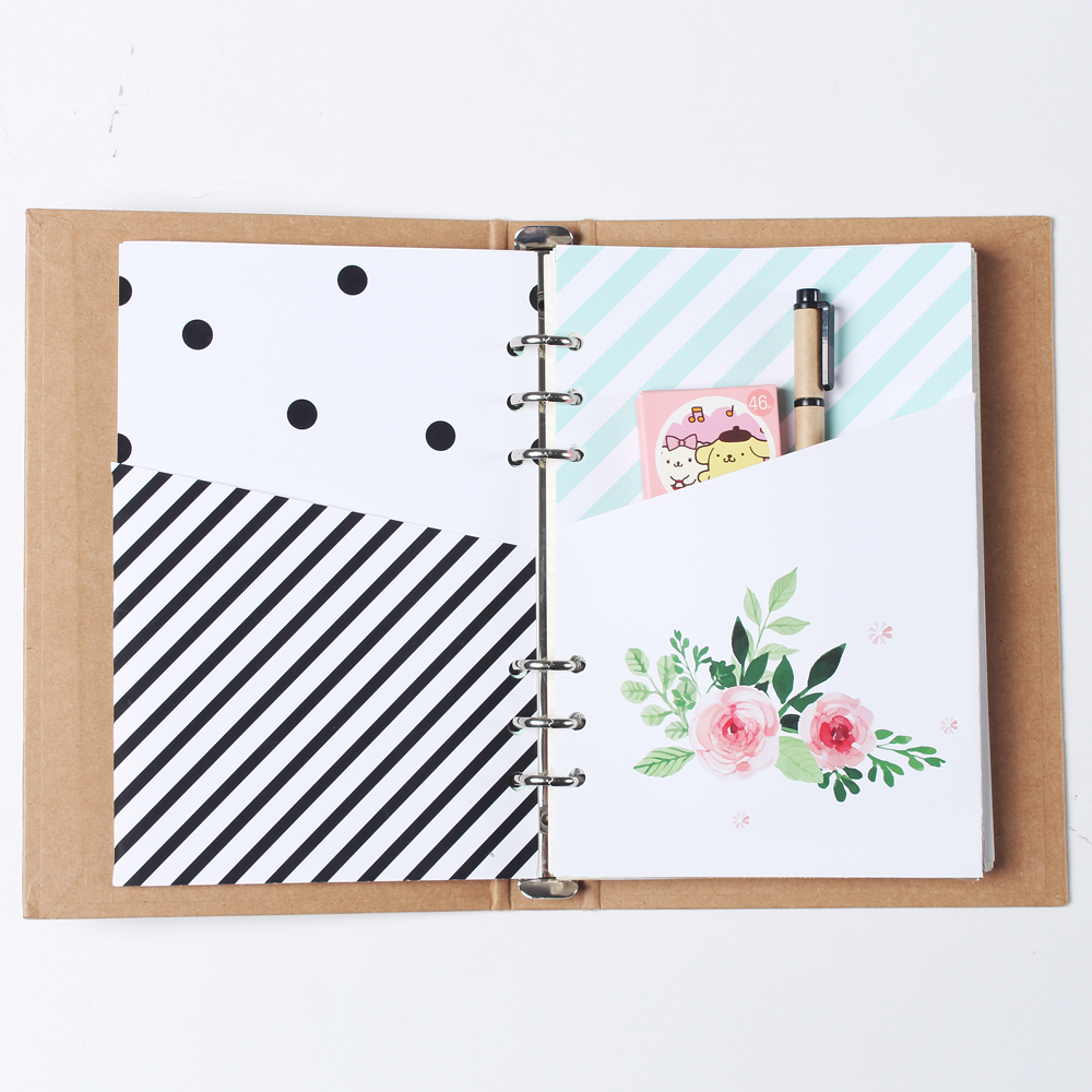 New cute original creative handmade <font><b>6</b></font> <font><b>holes</b></font> <font><b>binder</b></font> planner spiral notebook inside organizer pouch accessories stationery <font><b>A5</b></font> A6 image