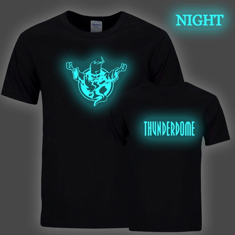 Cool Luminous Thunderdome T Shirt Men Women Creative Noctilucous Print T-shirt Short Sleeve O-neck Tee Tops Streetwear Clothes