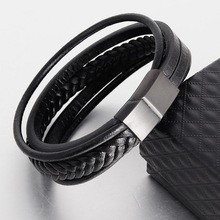 Leather Handmade Bracelet Braided Multi-layer Mens Retro Stainless Steel Rope