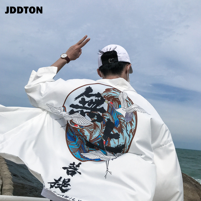 JDDTON New 2020 Summer Men's Kimono Fashion Cardigan Jackets Yukata Thin Outerwear Haori Coats Loose Casual Male Overcoat JE017