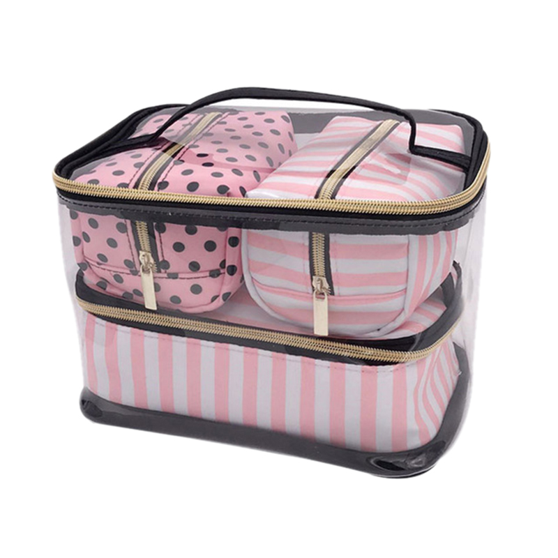 ABZC-4Pcs/Lot Pvc Transparent Cosmetic Bag Organizer Travel Toiletry Bag Set Pink Beauty Case Makeup Case Beautician Vanity Nece