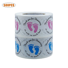 500PCS Baby Shower Footprint Sticker Round Tags Thank You for Showering Us with So Much Love Blue Pink Foot Print Stickers Label so much in love
