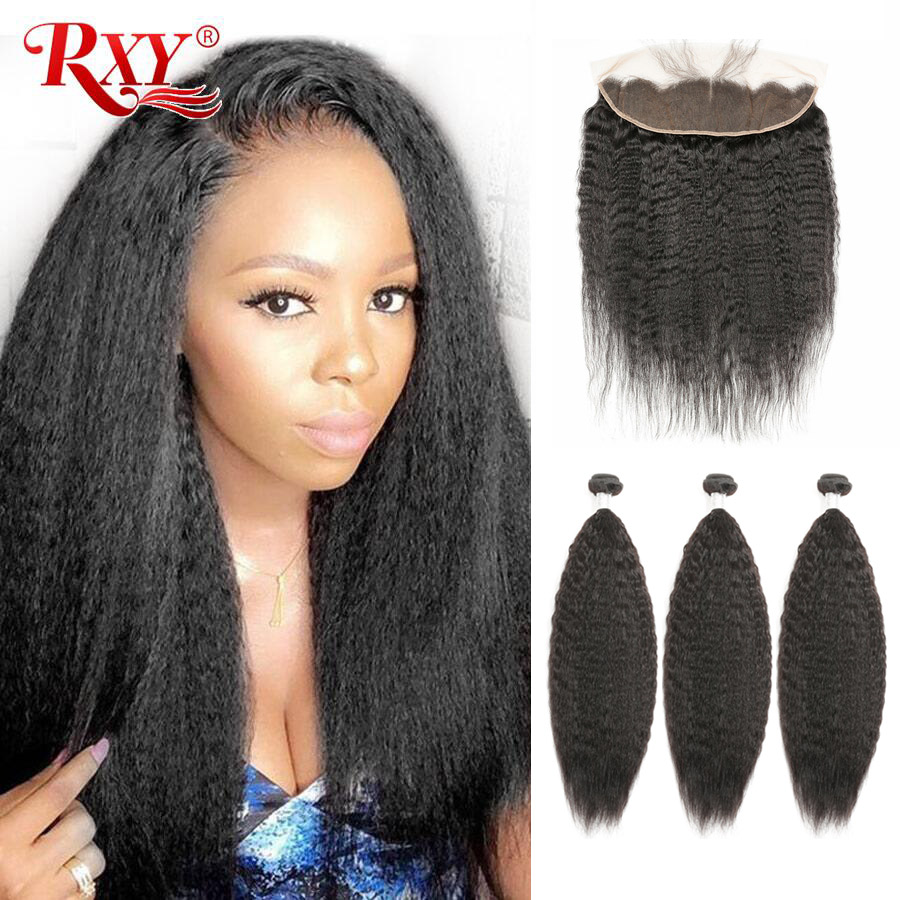RXY Brazilian Hair Weave Bundles With Frontal Kinky Straight Human Hair Bundles With Closure 3 Bundles With Lace Front Remy Hair