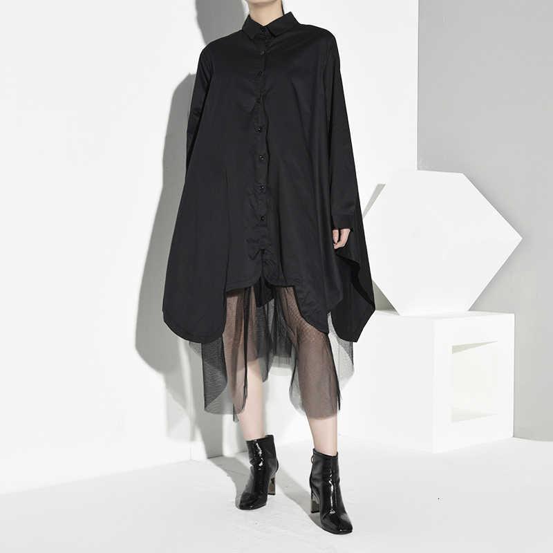 [EAM] женское черное асимметричное Сетчатое платье-рубашка большого размера, новинка, с отворотом, с длинным рукавом, свободный крой, мода, весна-осень 2019, 1B6820