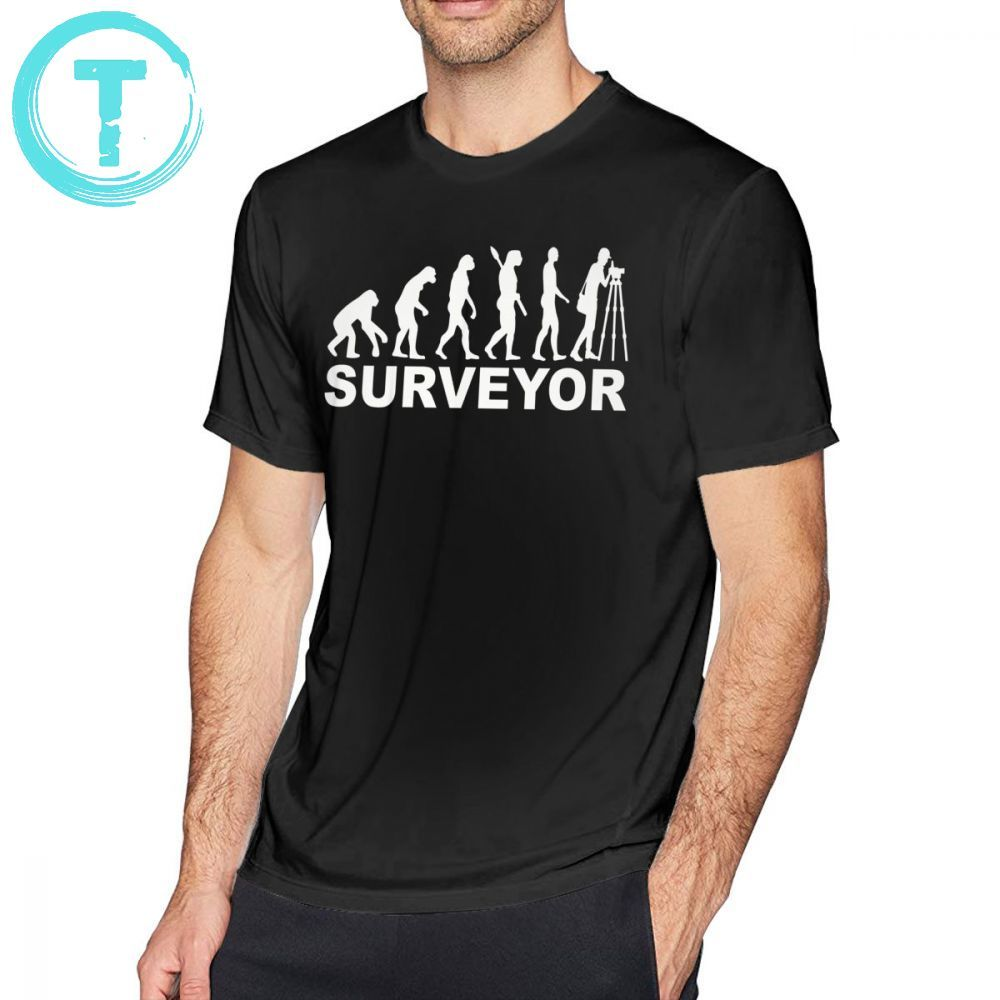 Surveyor T Shirt Evolution Surveyor T-Shirt Man Short Sleeve Tee Shirt Fun 6xl Cotton Casual Graphic Tshirt