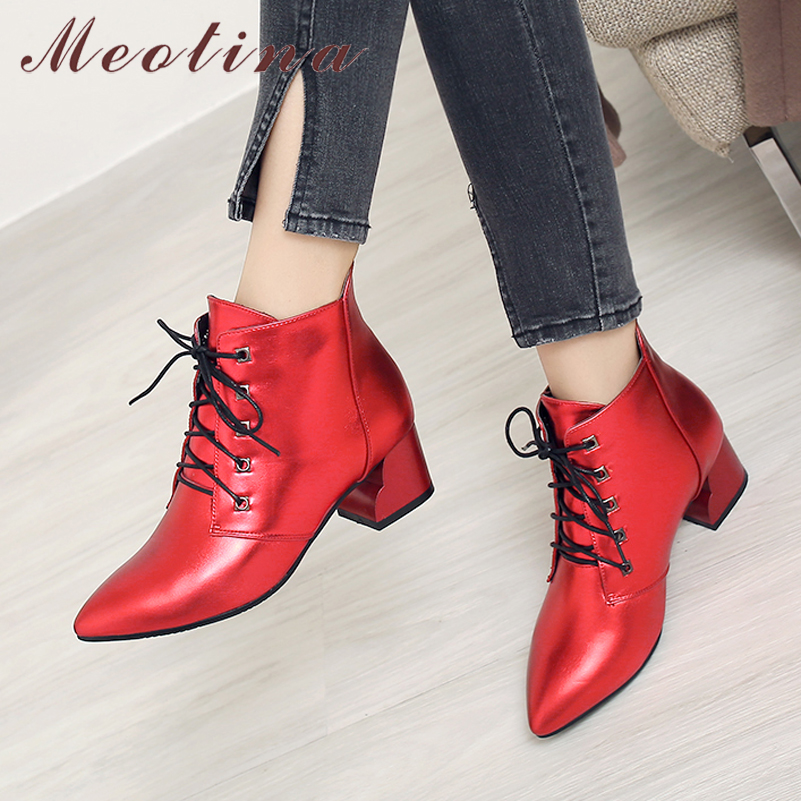Meotina Women Shoes Short-Boots Low-Heels Female Large-Size Ladies 33-43 Fashion Spring