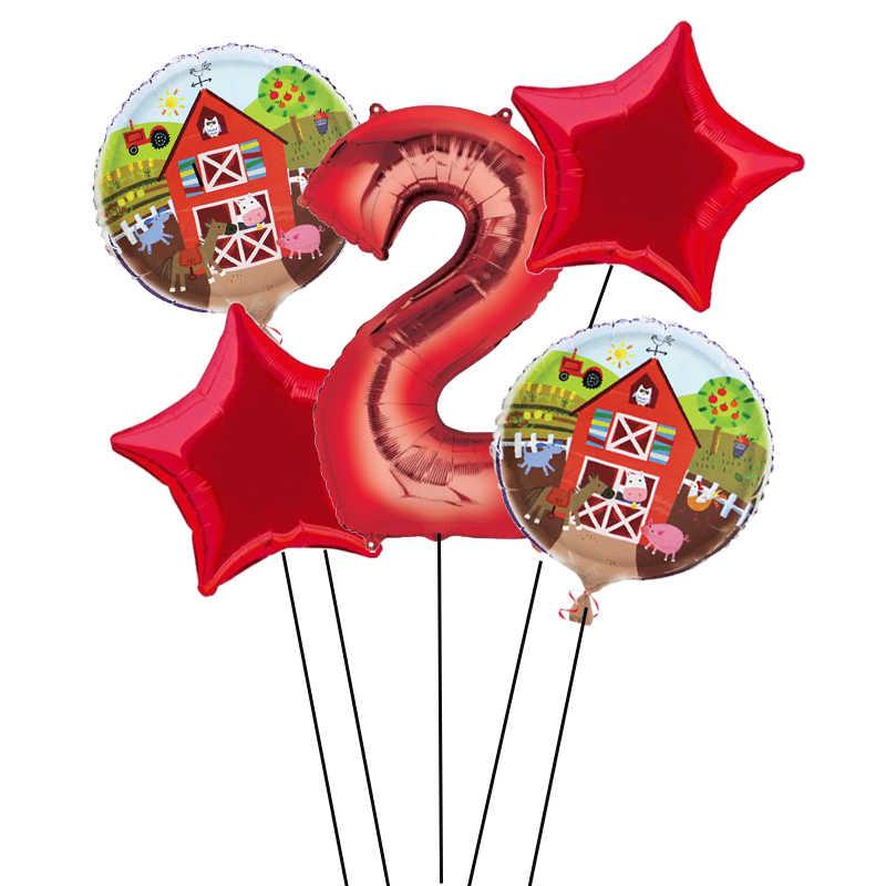 5 個ファームテーマバルーン 32 インチ番号バルーン 1st 誕生日パーティーの装飾グロボスのおもちゃファームパーティー用品