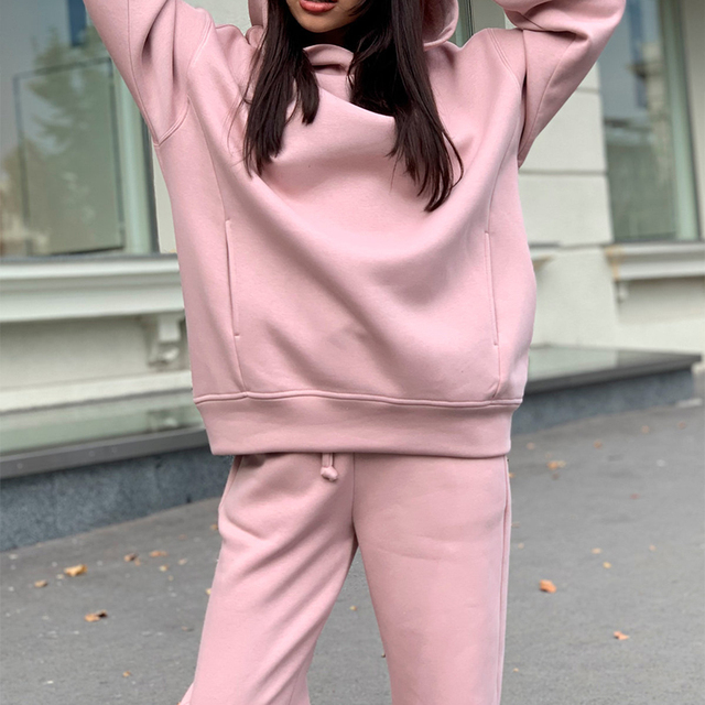 Women Elegant Solid Sets For Women Warm Hoodie Sweatshirts And Long Pant Fashion Two Piece Sets Ladies Lace Up Sweatshirt Suits 5