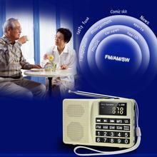 Цифровой дисплей SW FM AM вставная карта легко работать портативный подарок MP3 радио бас usb зарядка мини динамик большая кнопка многополосный