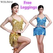 Buikdans Latin Sequin Halter Top Bra Belt Hip Rok Set Sexy Party Kostuum Kwastje Verleiding Stage Performance Sets 7 kleuren(China)
