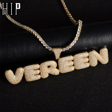 Hip Hop Iced Out Bubble Letters Custom Name Zircon Chain Pendants&Necklaces For Men Jewelry With Gold Silver Cuban Tennis Chain(China)
