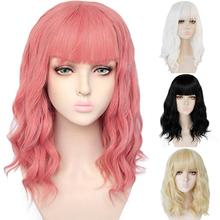 Ebingoo High Temperature Fiber Short Body Wave Bob Pink Black White Blonde Synthetic Wigs With Bangs for Women