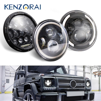 7inch 140W LED Headlights For Jeep Wrangler TJ JK LJ CJ Land Rover Defender 4x4 accessories off road , with Halo Ring Headlamp 1