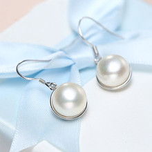 DMCEFP059 10-11MM Semiround Pearl Earrings Real 925 Sterling Silver Earrings Women Gift(China)