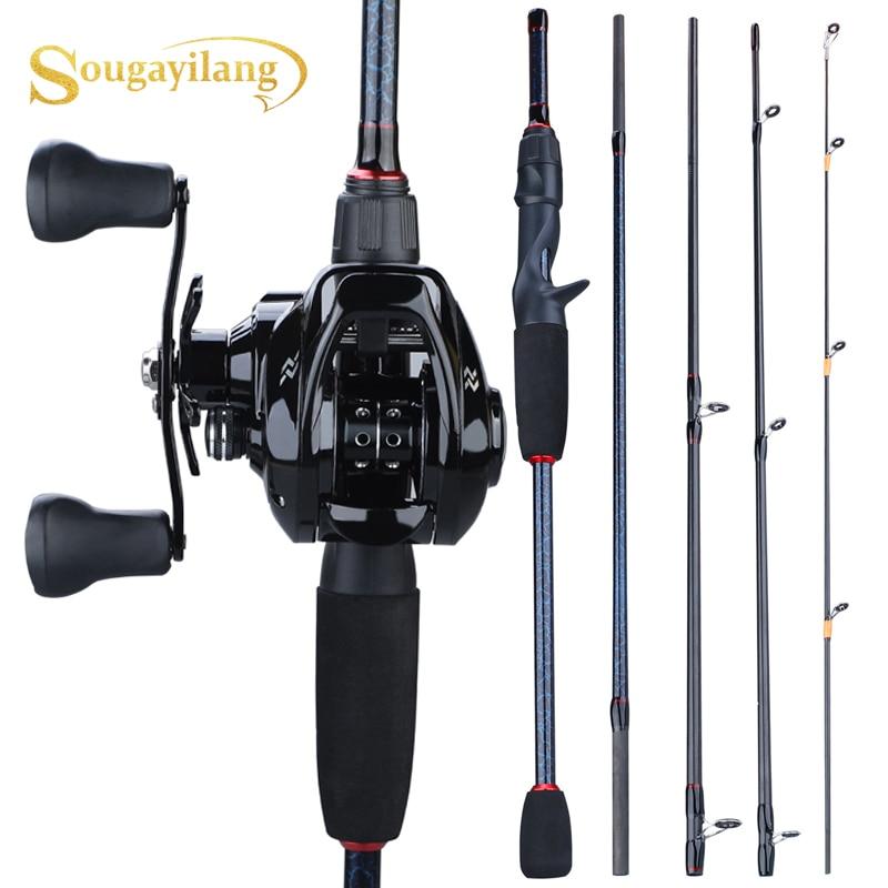 Sougayilang 1.8m- 2.4m Casting Fishing Rod Combo Portable 5 Section  Fishing Rod And 12+1BB 7.0:1 Gear Ratio Baitcasting Reel