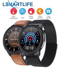 Relógio inteligente e80 masculino mulher medição de temperatura ip68 à prova dip68 água ppg + ecg monitor de freqüência cardíaca fitness rastreador smartwatch