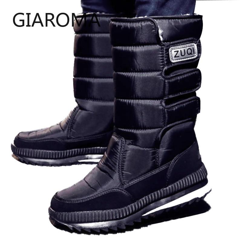 Image 4 - 2019 botas homens antiderrapante meados de bezerro botas  masculinas sapatos de neve inverno à prova dwaterproof água gancho loop  design plataforma sapatos bota masculino tamanho 47Botas p/ neve   -