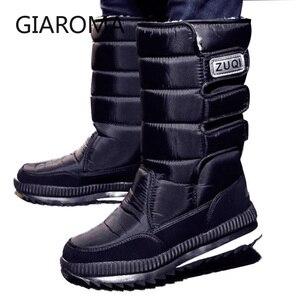 Image 4 - 2019 buty męskie antypoślizgowe średnio wysokie buty z cholewami męskie zimowe buty na śnieg wodoodporny hak pętli projekt platformy buty Bota Masculino rozmiar 47