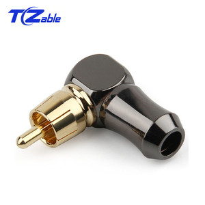 Image 4 - RCA Connector Male L type 90 degree Curved RCA Right Angle Elbow Converter RCA Plug Gold Plated Solder Wire Audio Adapter
