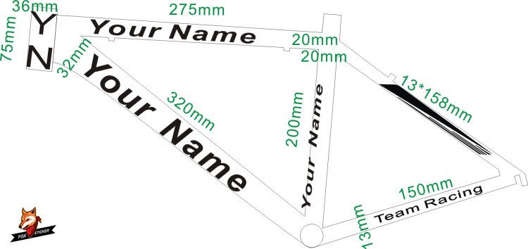 Custom Name <font><b>Bike</b></font> Sticker <font><b>Frame</b></font> <font><b>Decal</b></font> Cycling <font><b>Frame</b></font> ID Sticker Bicycle Custom Stickers Customized Bicycle Sticker image