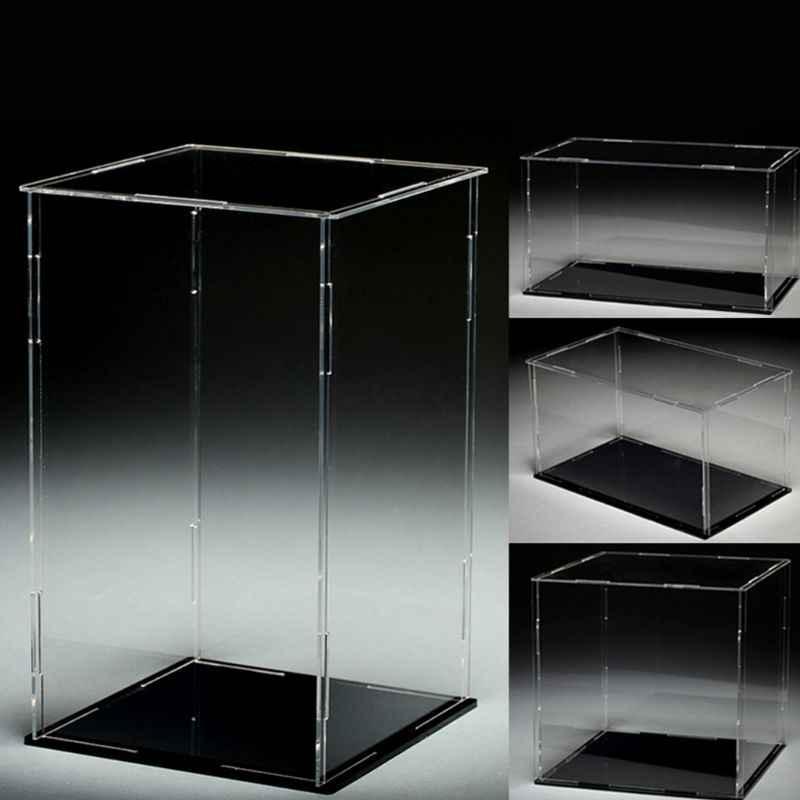 อะคริลิคใสสีดำฐานป้องกันฝุ่นของเล่นแสดงกล่อง