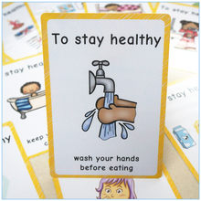 12pcs A4 Size English Poster To Stay Healthy Theme Kids Early Learning Education Cards Good Habits Classroom Wall Decoration(China)