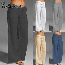 Calças de linho de algodão feminino cintura alta harém solto macio elástico cintura branca verão azul casual 2021 calças para o sexo feminino