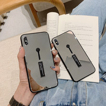 Case voor IPhone 7 X XR 8 6S XS 6 Luxe Mode Glas spiegel Loop Ring Case voor Iphone 8 7 6 6s Plus Glas Spiegel Loop Case(China)