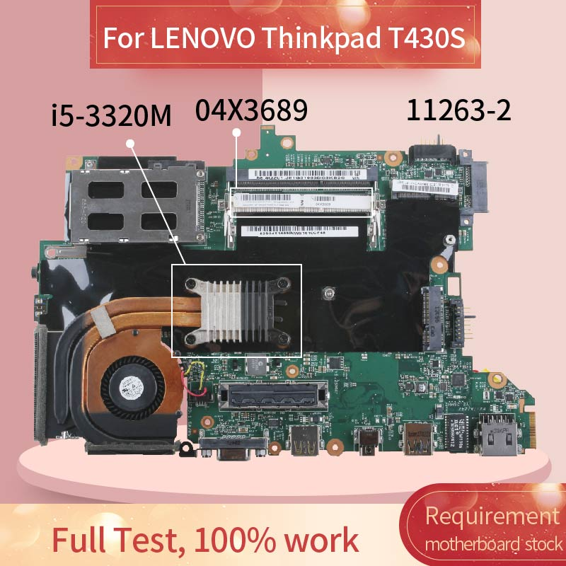 04X3689 Laptop motherboard For LENOVO Thinkpad T430S <font><b>i5</b></font>-<font><b>3320M</b></font> Notebook Mainboard 11263-2 SR0MY image