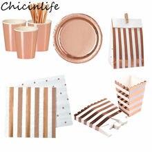 Chicinlife Rosegold jednorazowe zastawy stołowe pudełko na Popcorn słomkowy talerz papierowy kubki Nakpins ślubne materiały do dekoracji przyjęcia urodzinowego