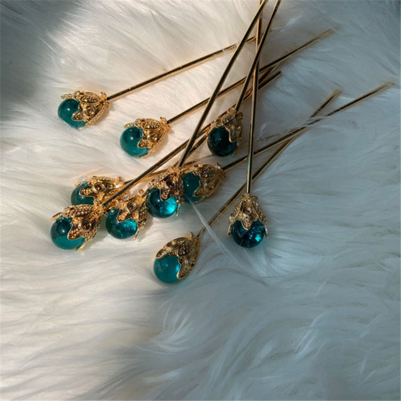 1Pcs Blue Hair Claw Direct Pearl Plate Hairpin Red White Bridal Headdress Hair Sticks Jewelry Ornaments Chinese Ancient Style 6